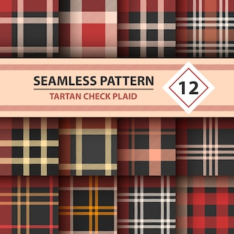 Tartan, merry christmas check plaid seamless patterns.