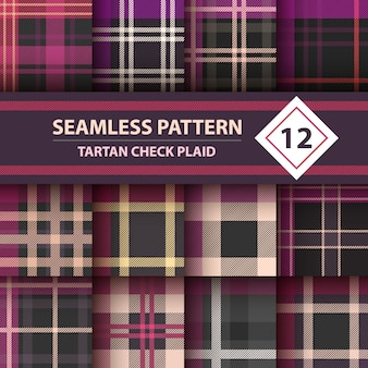Tartan, merry christmas check plaid seamless patterns
