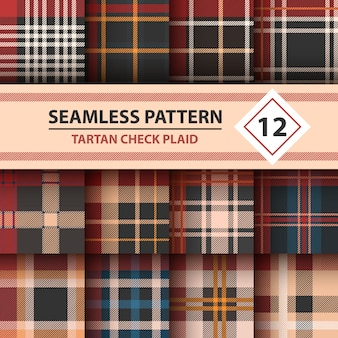 Tartan, merry christmas seamless patterns
