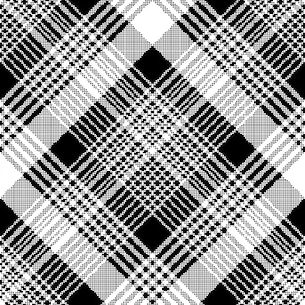 Tartan plaid black white fabric texture seamless pattern