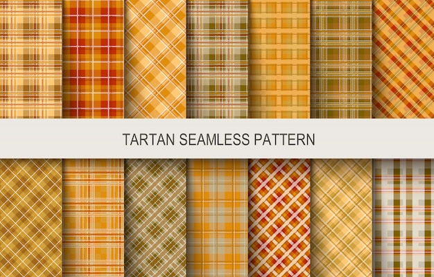 Tartan seamless vector patterns in brown and orange colors