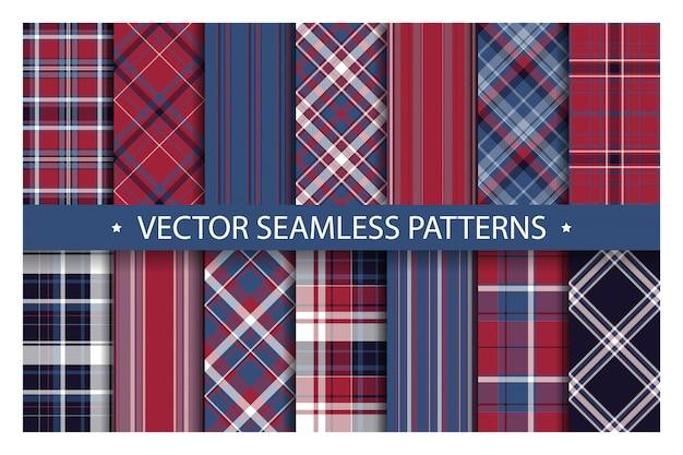 Tartan set pattern seamless plaid background