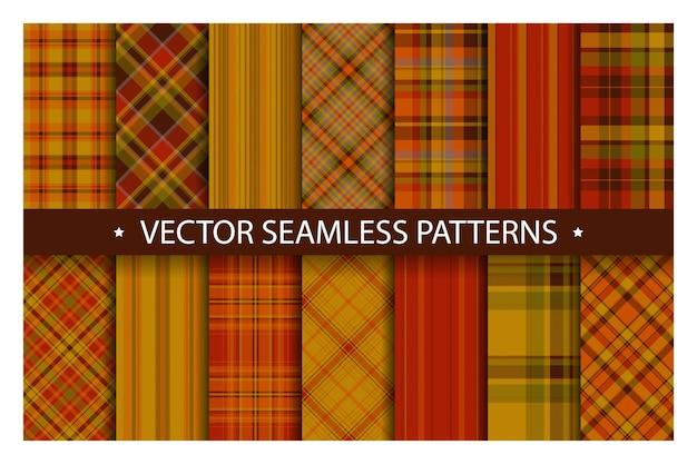Tartan set pattern seamless plaid . geometric  fabric texture.