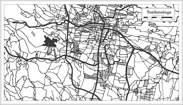黒と白の色でタシクマラヤインドネシアの都市地図。白地図。ベクトルイラスト。