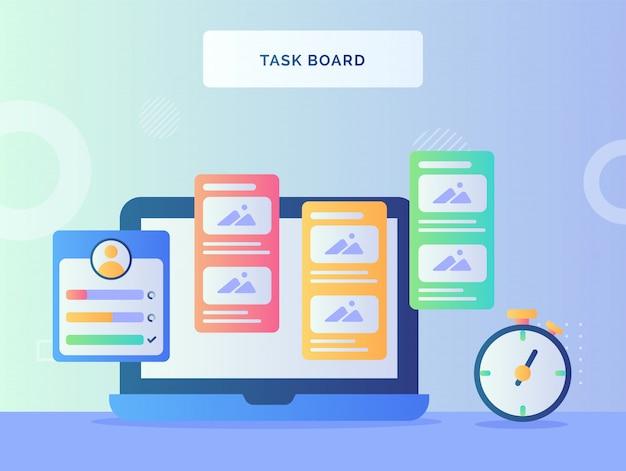 Task board digital on laptop screen nearby stopwatch with flat style.