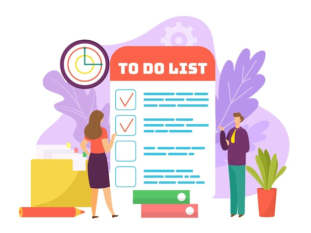 Task at business checklist concept vector illustration flat man woman character stand near to do lis...