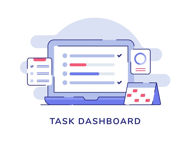Task dashboard concept check list on display laptop monitor calendar clipboard white isolated background