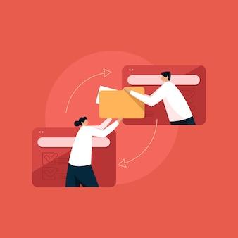 Task distribution and work management sharing data and file folder online concept