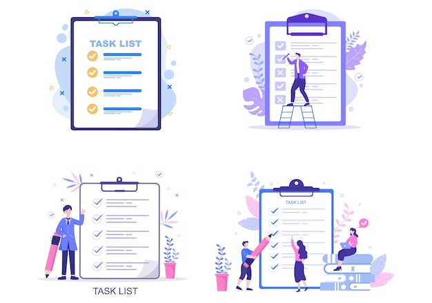Task list vector illustration to do list time management, work planning or organization of daily goals. landing page template