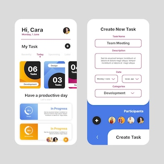 Task management app interface template