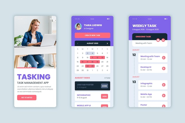 Task management app set template