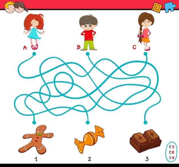 子供のための経路迷路の課題 Premiumベクター
