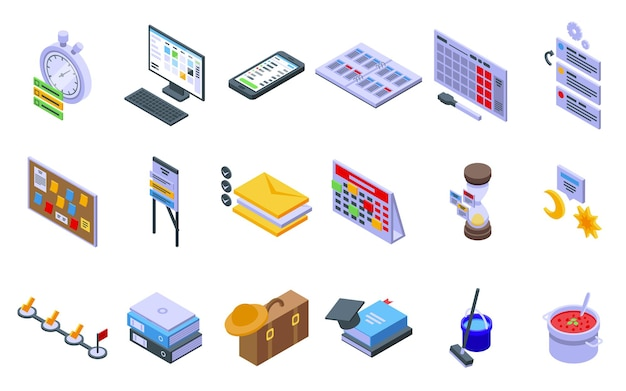 Task schedule icons set. isometric set of task schedule vector icons for web design isolated on white background
