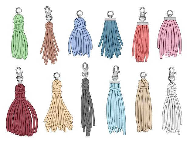 Tassels accessories. leather fringe tassel trinket, handbag embelishments and fashion key chain isolated illustration