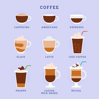 Tasty aromatic types of coffee
