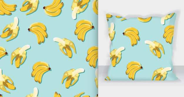 Вкусный образец бананов с макетом квадратной подушки.