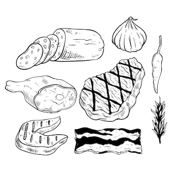Tasty barbecue meat collection with spices by using sketch style