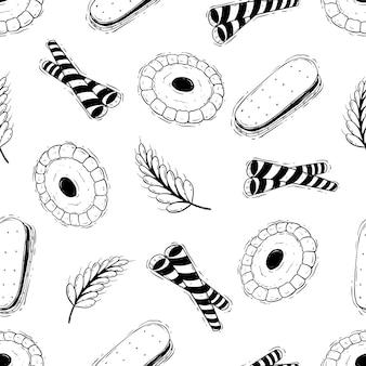 낙서 스타일의 맛있는 비스킷 원활한 패턴