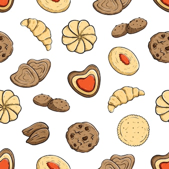 Tasty biscuits in seamless pattern