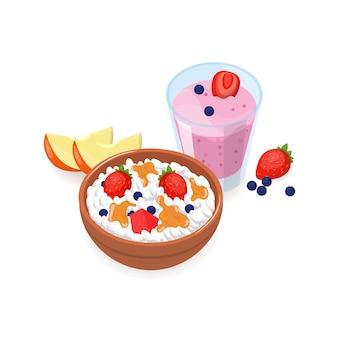 Вкусный завтрак состоял из творога с кусочками фруктов, ягод