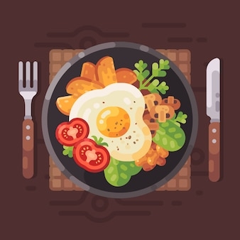 Tasty breakfast flat vector illustration. plate with omelette, tomatoes, fried potatoes, m