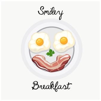 Tasty breakfast food plate smile illustration.