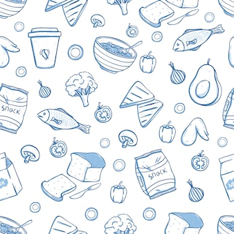 Tasty breakfast food in seamless pattern with doodle style