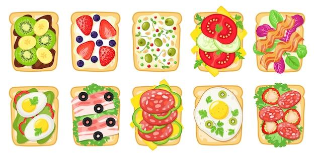 Tasty breakfast toasts isolated on white