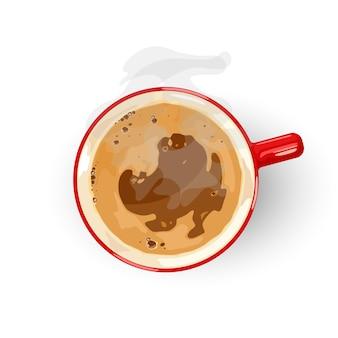 焙煎したコーヒー豆から作られたおいしい淹れたての飲み物。