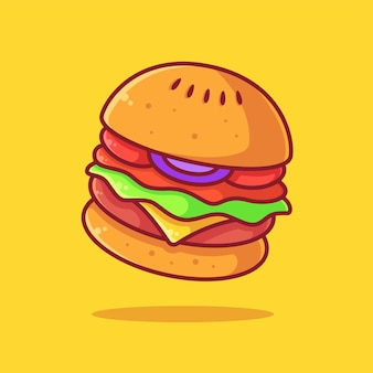 Вкусный бургер логотип вектор значок иллюстрации премиум фаст-фуд логотип в плоском стиле для ресторана
