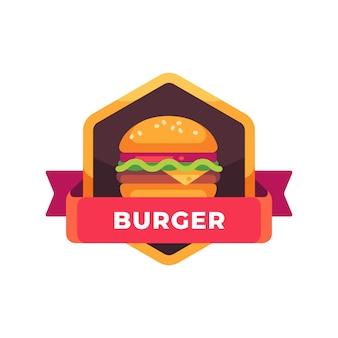 치즈와 샐러드와 함께 맛있는 햄버거. 패스트 푸드 라벨