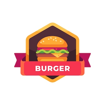 Tasty burger with cheese and salad. fast food label