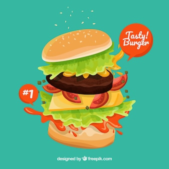 Tasty burger with variety of ingredients