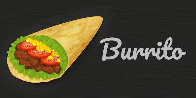 Вкусное буррито на деревянной черной предпосылке. иллюстрации. быстрое питание. мультяшный стиль