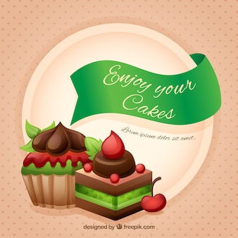 Tasty cake background in realistic style