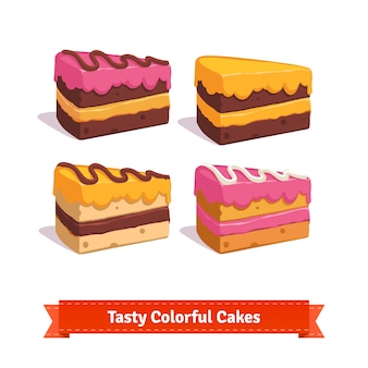 Tasty cake slices with frosting and cream