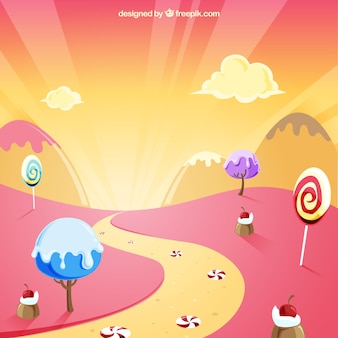 Tasty candy land background in flat style