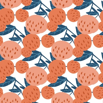 Вкусные ягоды вишни и листья бесшовные модели. рисованной вишни векторные иллюстрации. дизайн для ткани, текстильный принт. современные летние фруктовые ягодные обои.