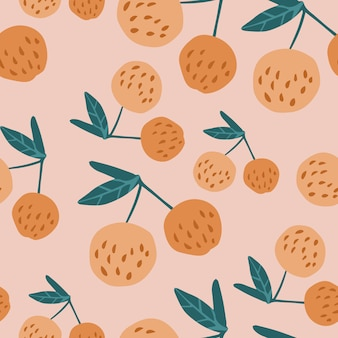 Tasty cherry berries and leaves seamless pattern