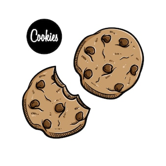 Tasty chocolate chip cookies with colored hand drawn style