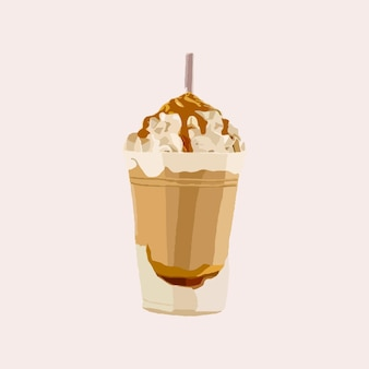 Tasty chocolate milkshake with whipped cream on top and drizzled caramel