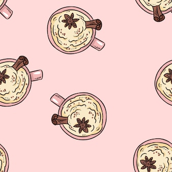 Tasty coffee drink with cinnamon and whipped cream cute cartoon seamless pattern.
