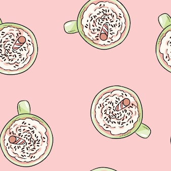 Tasty coffee drink with whipped cream cute cartoon seamless pattern.