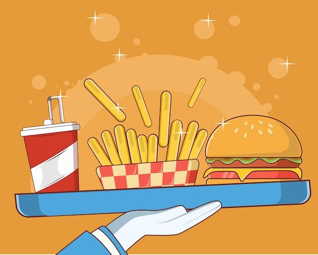 Tasty combo kid meal menu cheese burger with french fries and soda icon illustration
