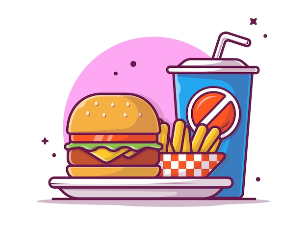 Tasty combo menu cheese burger on plate with french fries and soda, illustration white isolated
