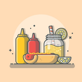 Tasty combo menu hotdog with orange juice, ketchup and mustard   icon illustration isolated