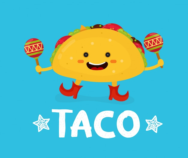 Tasty cute happy smiling taco dance with maracas.