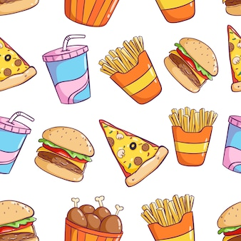 Tasty cute junk food in seamless pattern with colorful doodle style