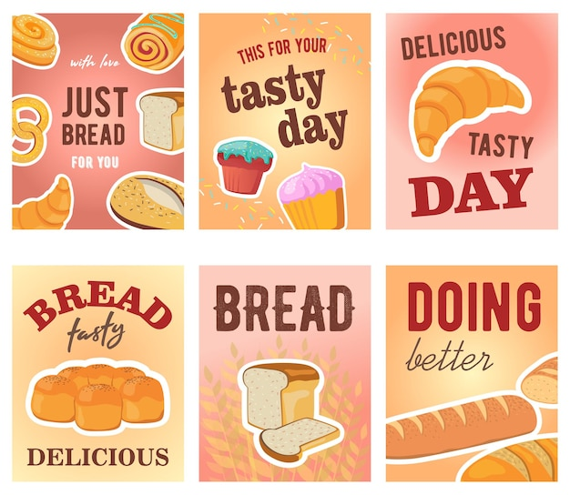 Tasty day greeting card designs with bread and muffins