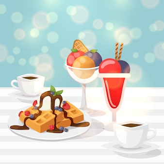 Tasty desserts in cafe, sweet belgian waffles, glass with colorful ice cream